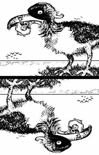 Gros oiseau / île+pêcheur